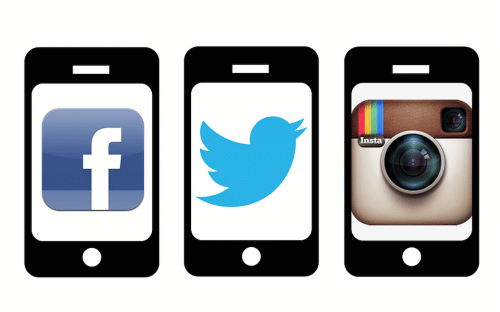 social media logos on phone, internet advertising campaign