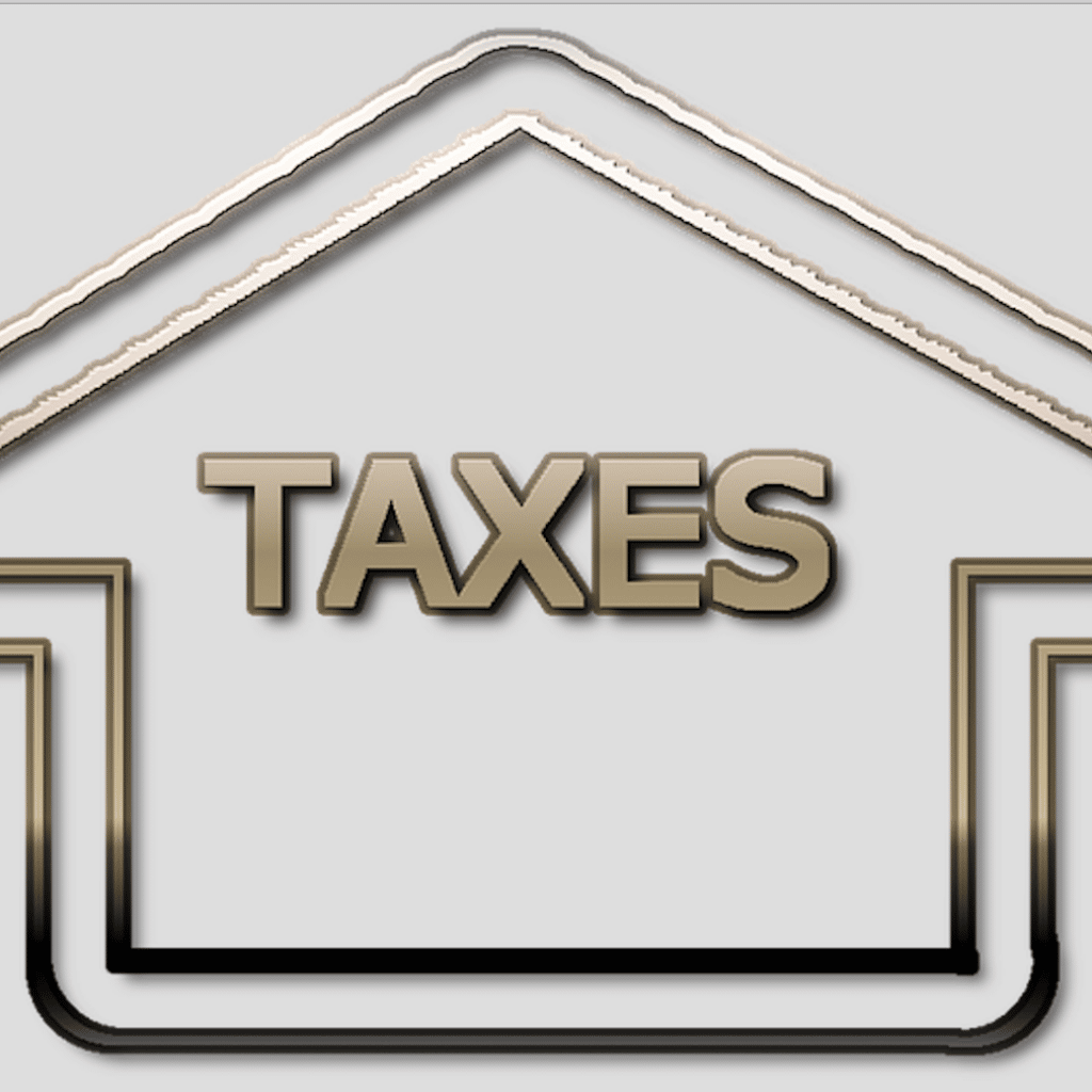 Image of taxes words in a house frame