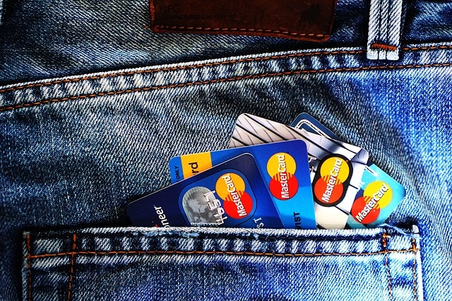 different bank credit cards in pocket