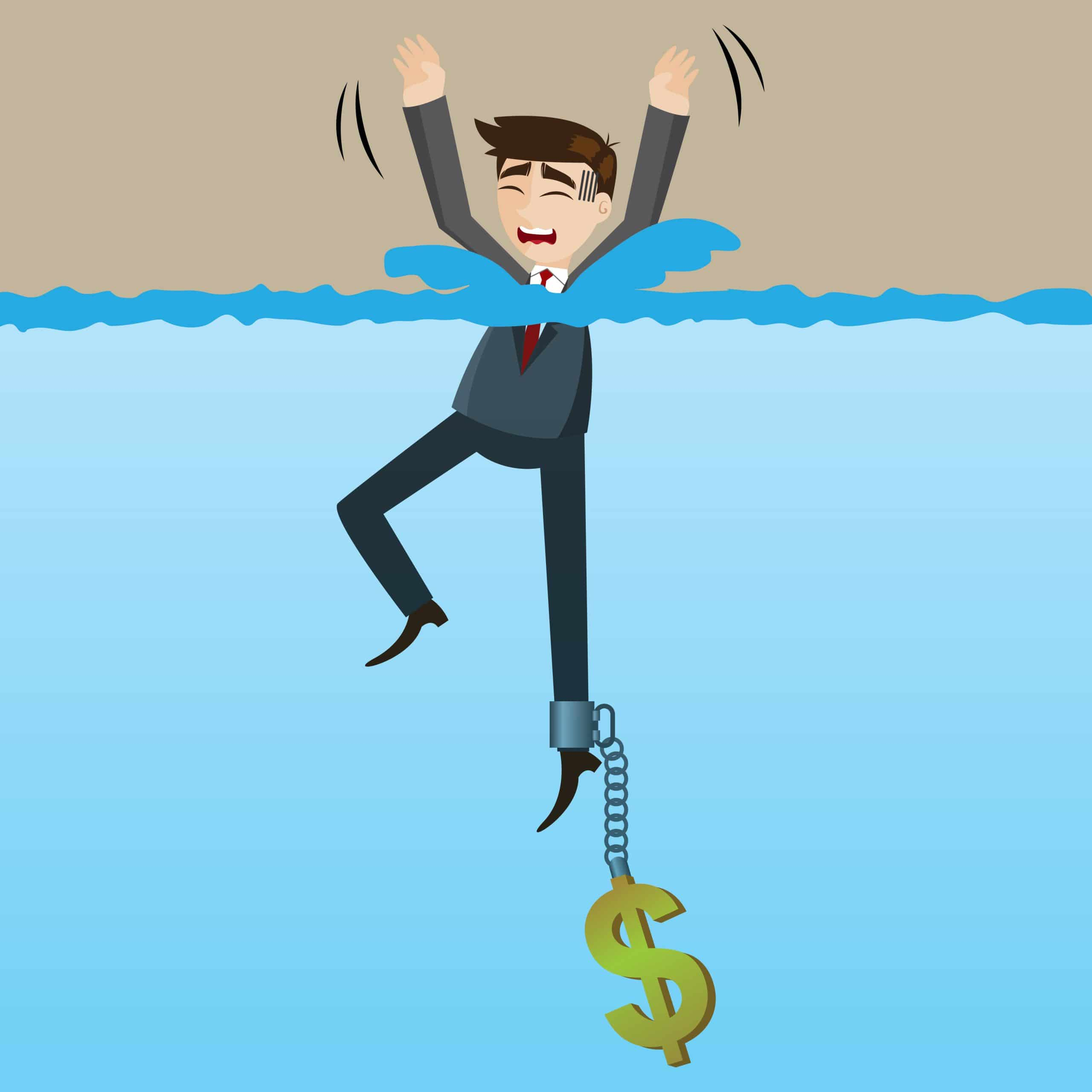 cartoon drowning businessman_IRS Tax Settlement