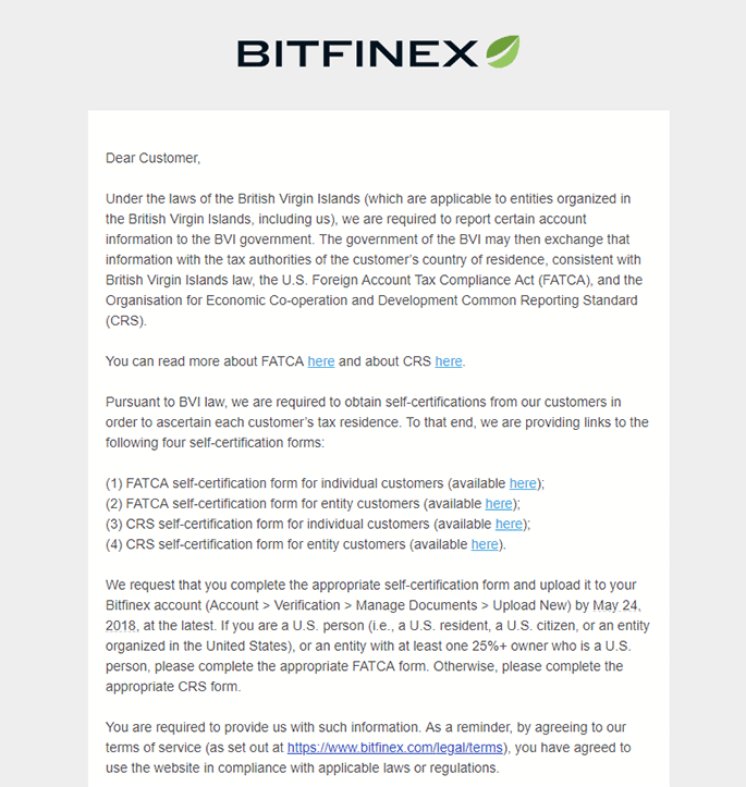 Bitfinex Tax Issue