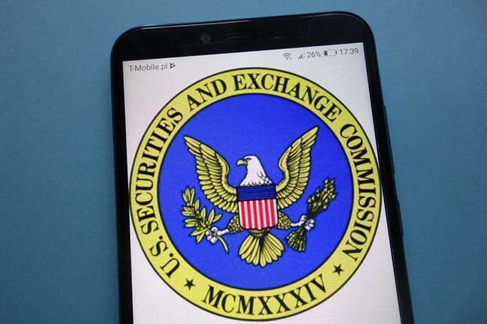 picture of the SEC logo on a mobile phone